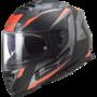 LS2 FF800 Storm motorhelm Racer mat titanium fluo oranje