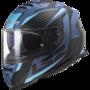 LS2 FF800 Storm motorhelm Racer mat titanium blauw