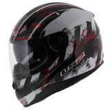 LS2 FF384 helm Asphalt glans zwart rood_