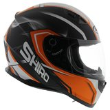 Shiro SH-881 Motegi helm zwart oranje_