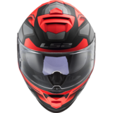 LS2 FF800 Storm motorhelm Faster mat rood titanium_