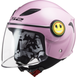LS2 OF602 Funny Mini kinder scooterhelm / motorhelm glans roze_