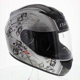 LS2 FF351 Helm Manga glans zilver zwart_