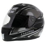 LS2 FF350 Helm Diamond glans zwart zilver_