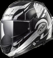LS2 FF399 Valiant Roboto glans zwart wit chrome systeemhelm