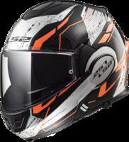 LS2 FF399 Valiant Roboto glans zwart oranje chrome systeemhelm