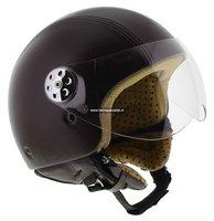 MT Retro helm Leer donker bruin