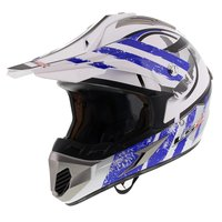 LS2 MX433 Crosshelm Stripe glans wit blauw
