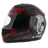 LS2 FF350 Helm Cartoon mat antraciet rood