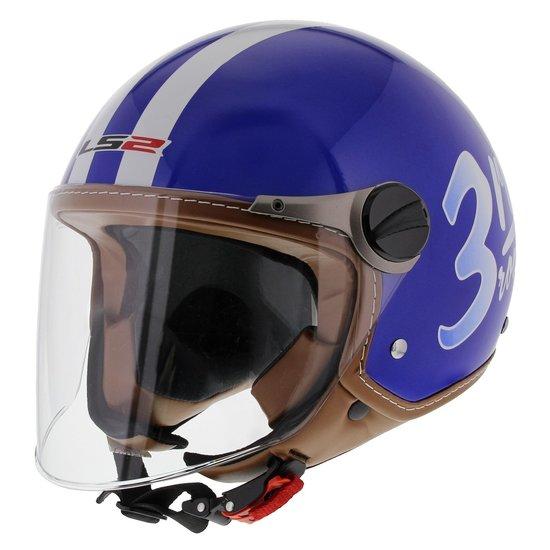 LS2 jethelm OF560 Round glans blauw