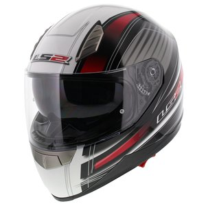 LS2 FF384 helm Big One glans wit rood