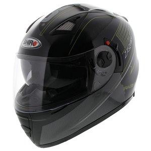 Shiro SH-3700 R15 helm zwart wit geel met zonnevizier