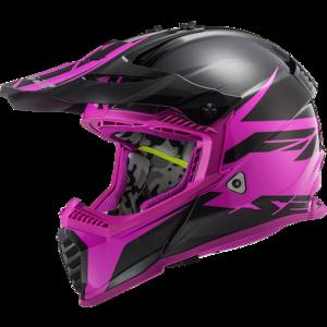 LS2 Crosshelm MX437 Fast EVO Roar mat zwart glans paars