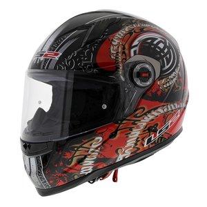 LS2 FF358 Celtic Motorhelm glans zwart rood