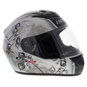 LS2 FF351 Helm Manga glans zilver zwart