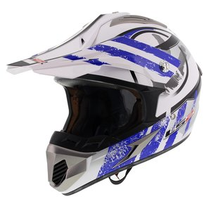LS2 MX433 Crosshelm Stripe glans wit blauw