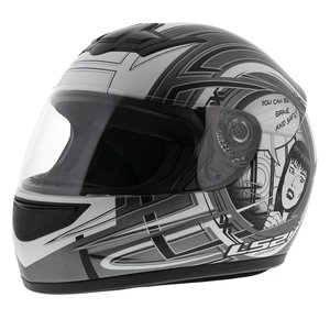 LS2 FF350 Helm Cartoon mat antraciet zilver